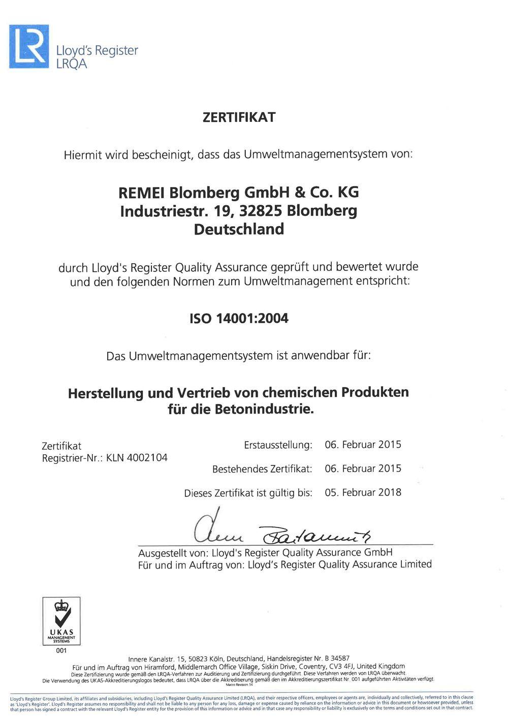 ISO 14001:2004 Zertifikat